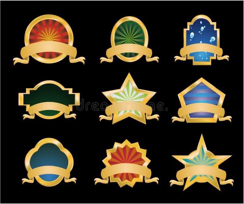 Emblemas do vintage de Retr? - jogo 1 ilustração stock