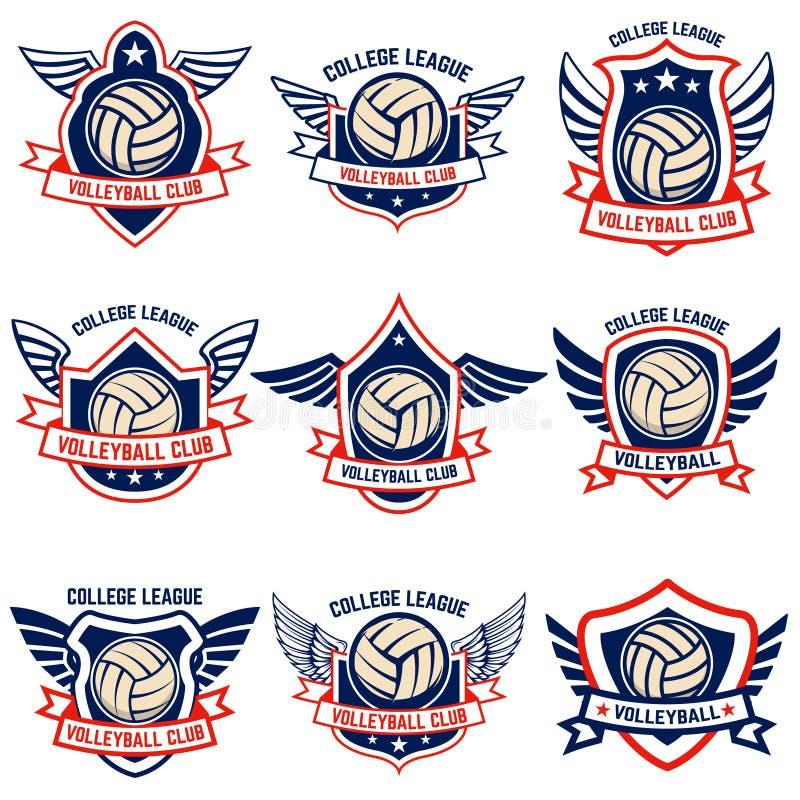 Emblemas do voleibol no fundo branco Projete o elemento para o logotipo, etiqueta, emblema, sinal, crachá ilustração stock