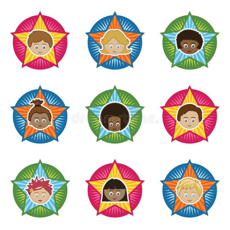 Emblemas dos miúdos ilustração stock