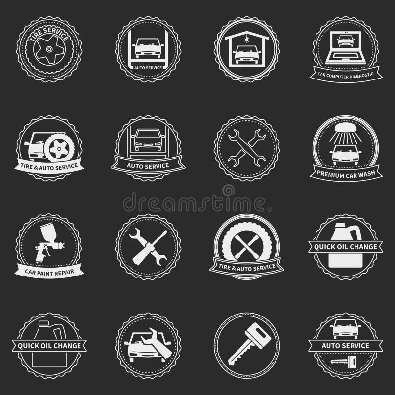 Emblemas e crachás do serviço do carro do vetor ilustração do vetor