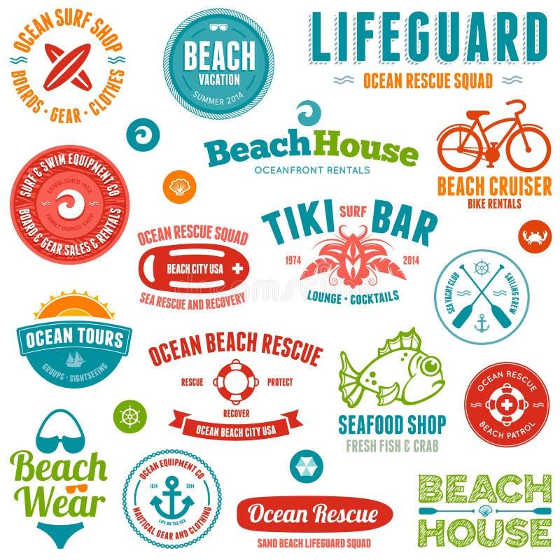 Emblemas e emblemas da praia ilustração do vetor