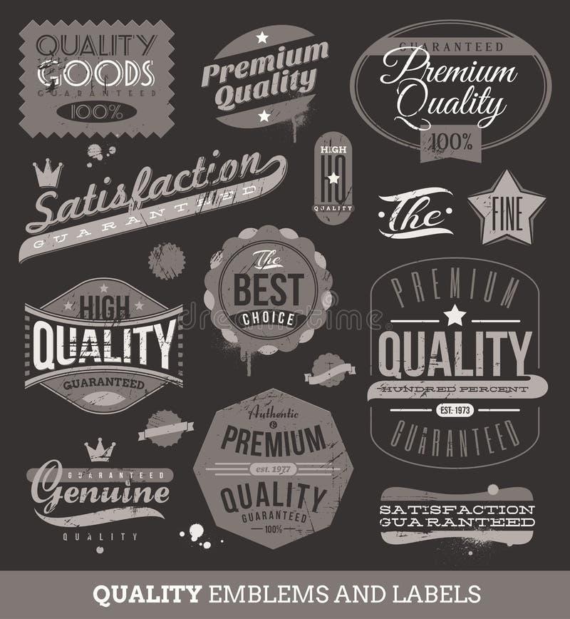 Emblemas e etiquetas da qualidade e garantidos ilustração stock