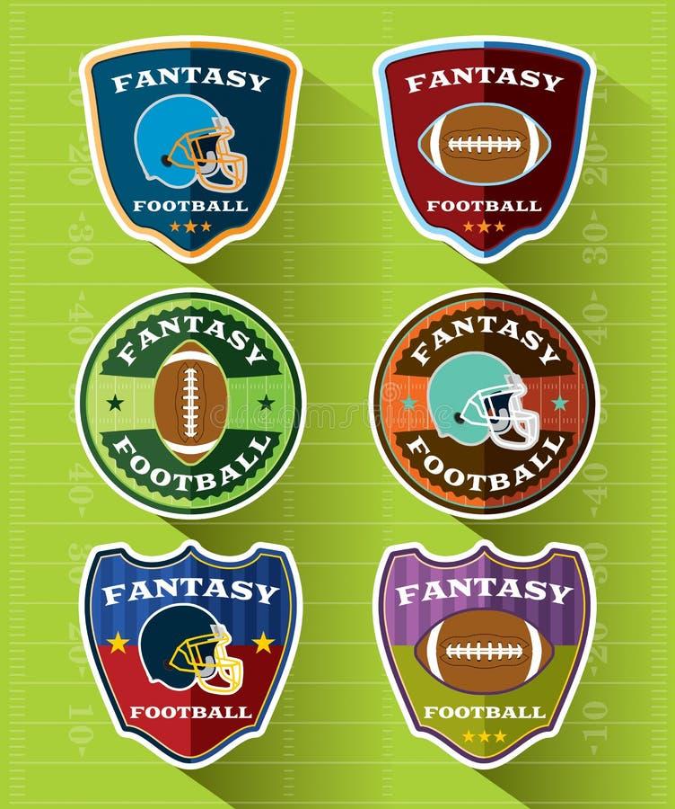 Emblemas e insignias del fútbol de la fantasía fijados stock de ilustración