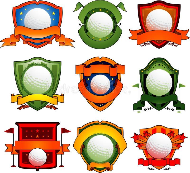 Emblemas e logotipos do golfe ilustração stock
