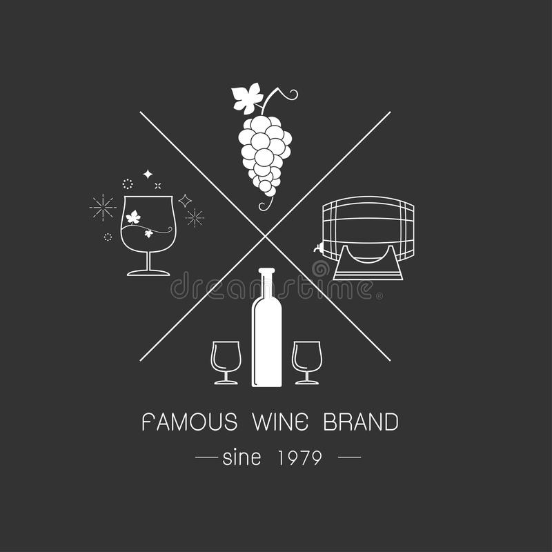 Emblemas e logotipos do vinho ilustração do vetor