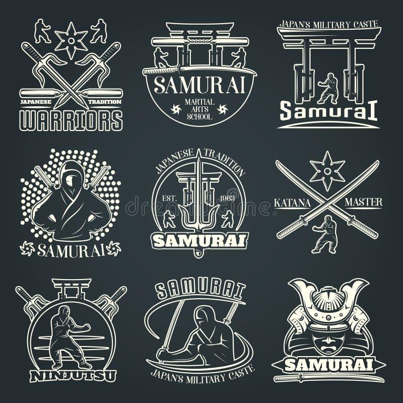 Emblemas escuros do samurai ilustração stock