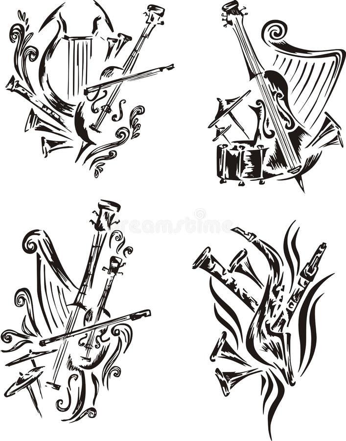 Emblemas estilizados de la música - sinfonía libre illustration