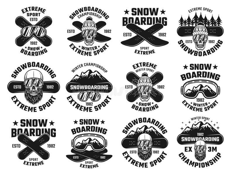 Emblemas extremos do vetor do esporte do inverno da snowboarding ilustração do vetor
