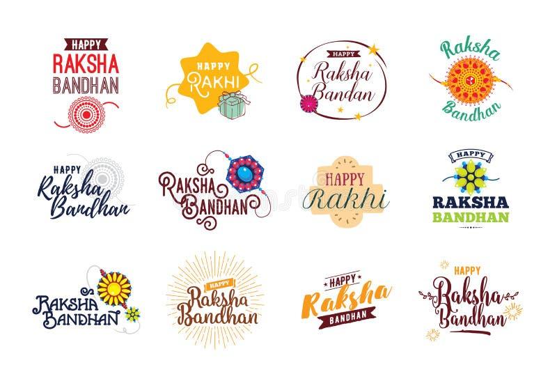 Emblemas felizes de Raksha Bandhan ajustados ilustração do vetor