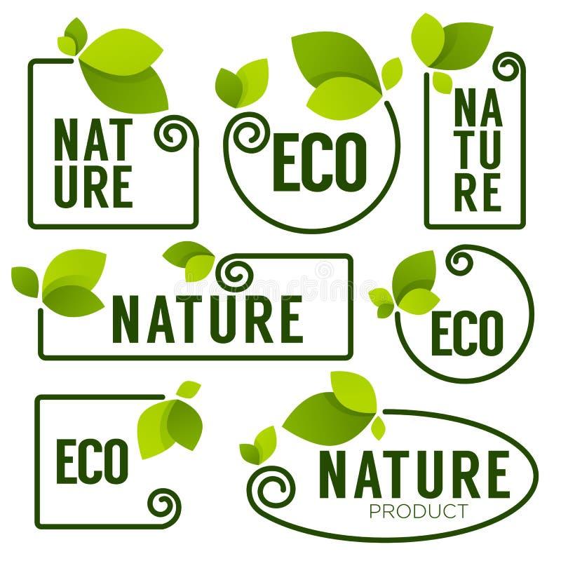 Emblemas Frescos Verdes De Las Hojas De Eco Y De La Naturaleza ...