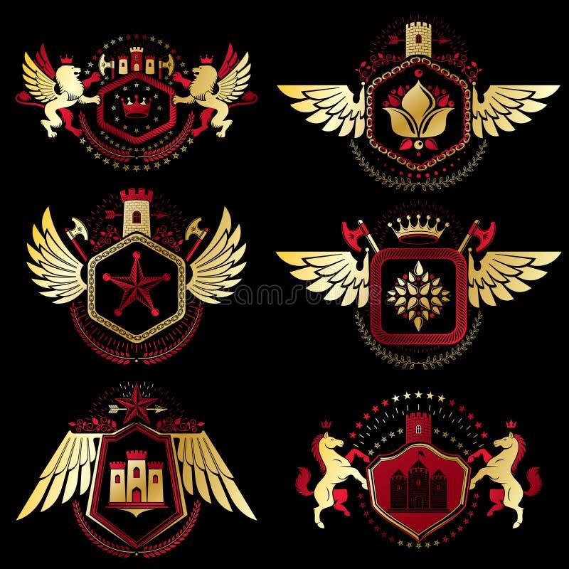 Emblemas heráldicos decorativos del vector del vintage compuestos con el elemento stock de ilustración