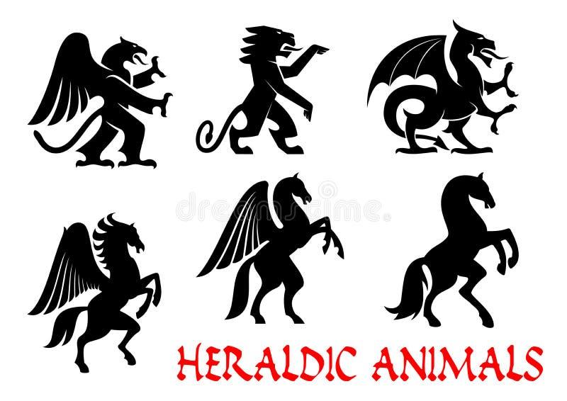 Emblemas heráldicos dos animais Ícones da silhueta do vetor ilustração royalty free
