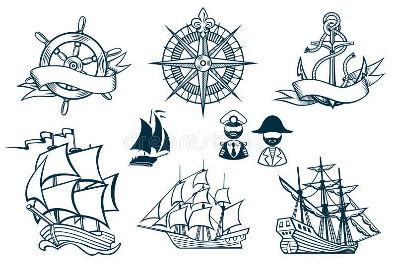 Emblemas Iconset de los veleros stock de ilustración
