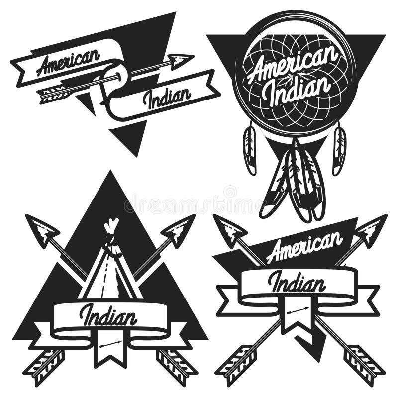 Emblemas indios americanos del vintage stock de ilustración
