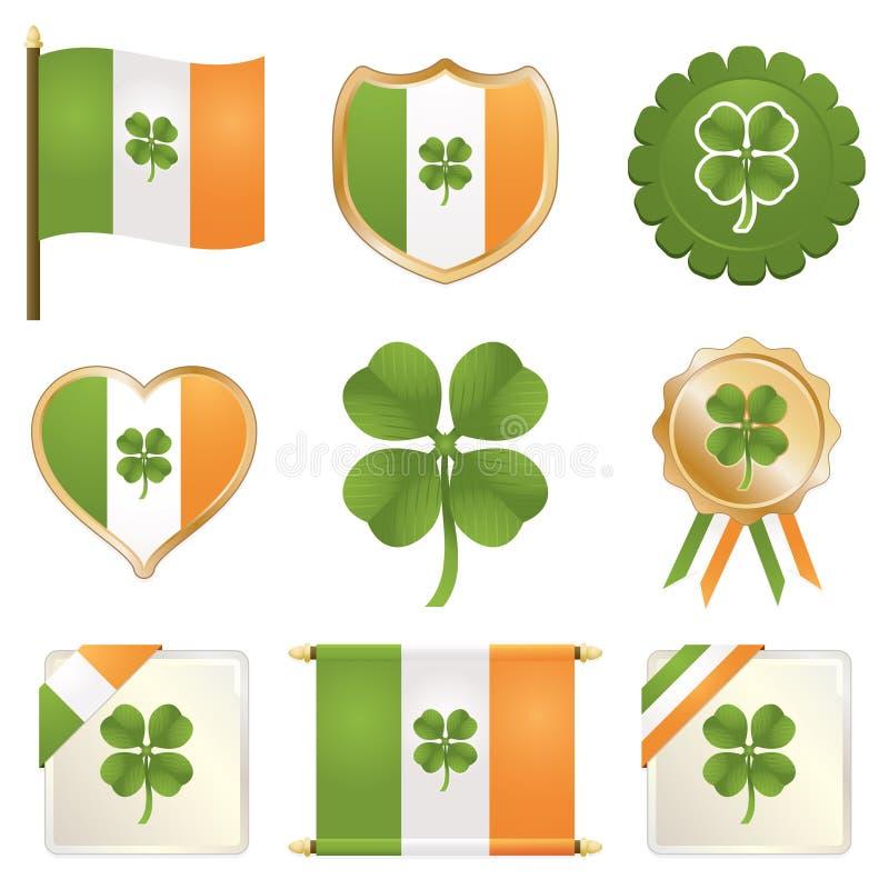 Emblemas irlandeses afortunados ilustração stock