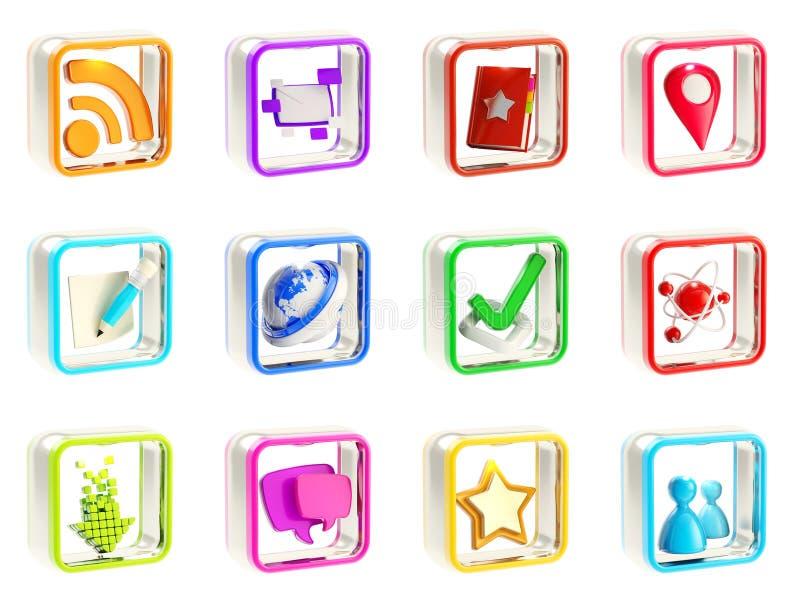 Emblemas móviles de la aplicación del icono del app aislados ilustración del vector