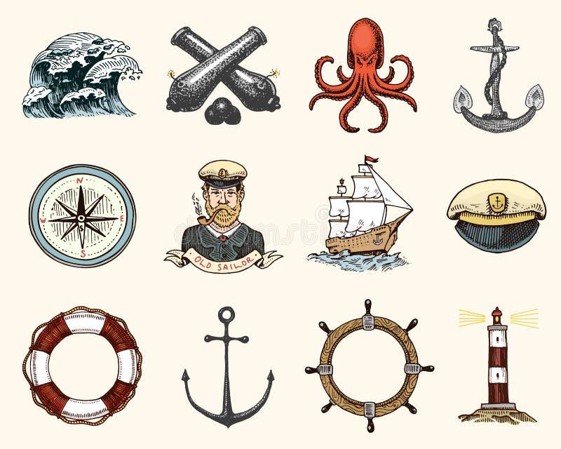 Emblemas marinos y náuticos o del mar, océano sistema de vintage grabado, mano dibujada, vieja, etiquetas o insignias para un ani libre illustration