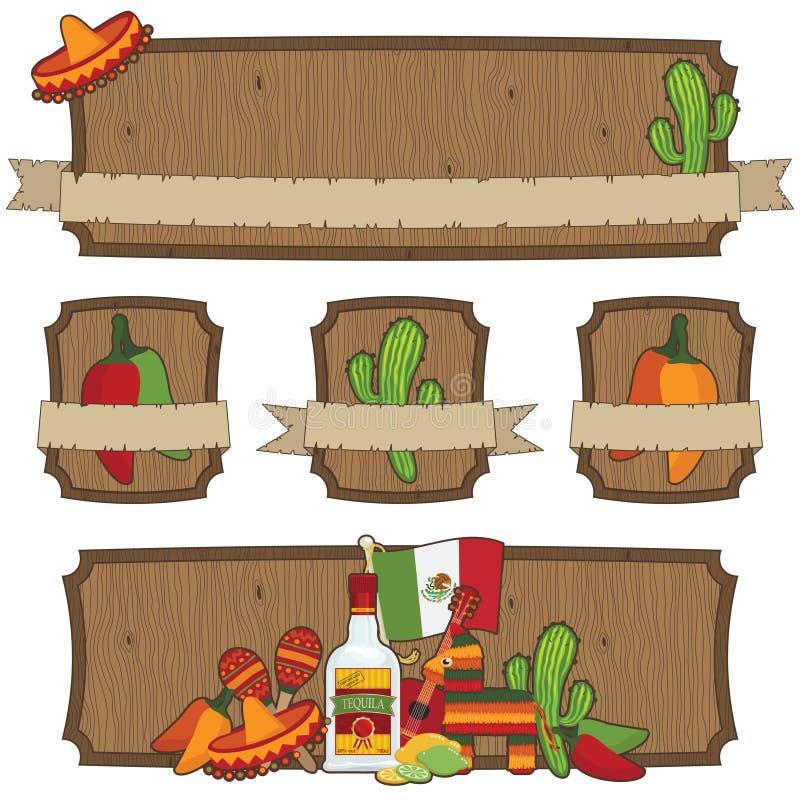 Emblemas mexicanos ilustração royalty free