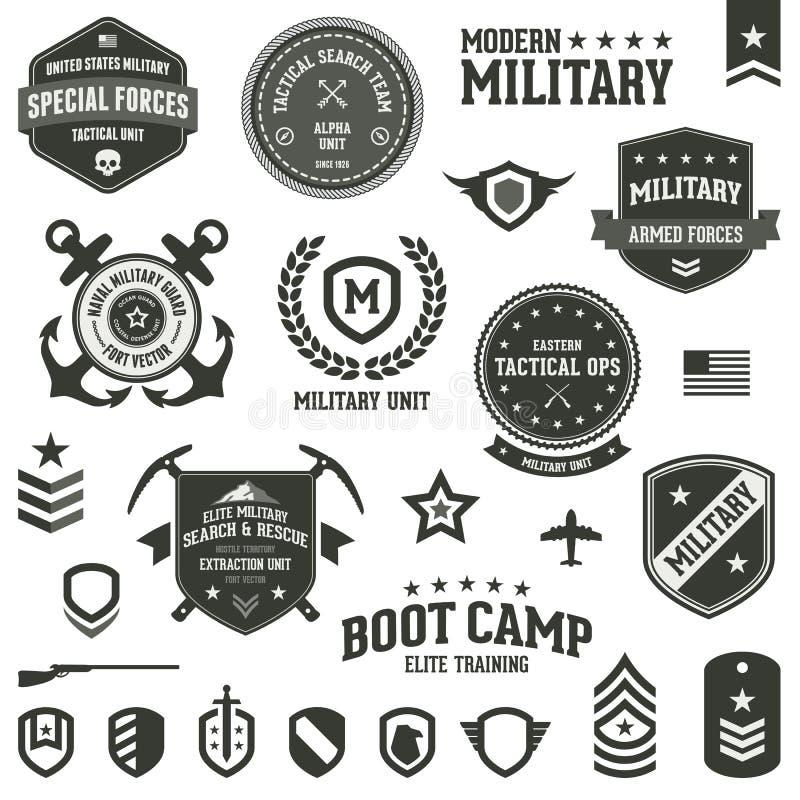 Emblemas militares ilustração stock