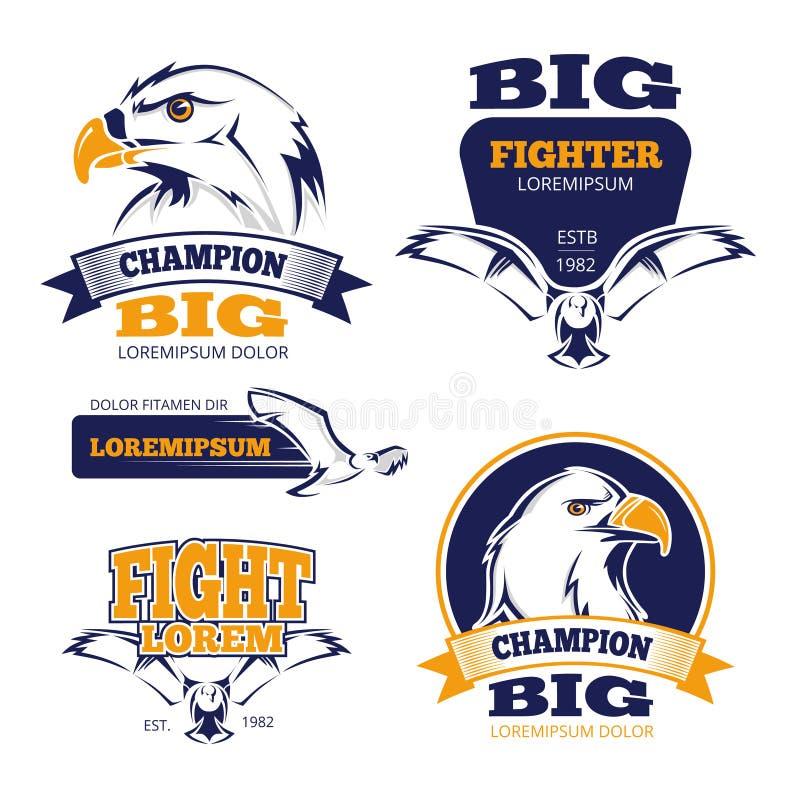 Emblemas militares del vector de la cresta heráldica con las águilas ilustración del vector