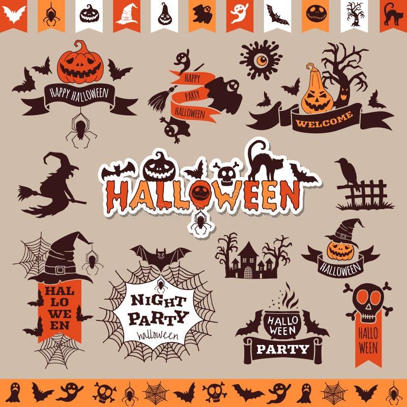 Emblemas monocromáticos de Halloween para la decoración Colección del vector ilustración del vector