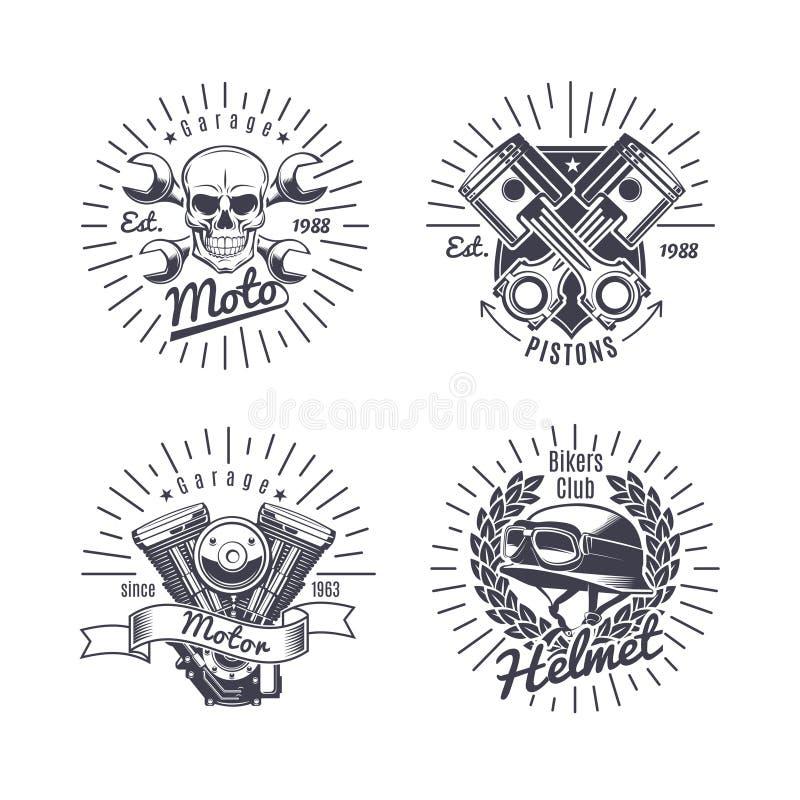 Emblemas monocromáticos de la motocicleta del vintage fijados ilustración del vector
