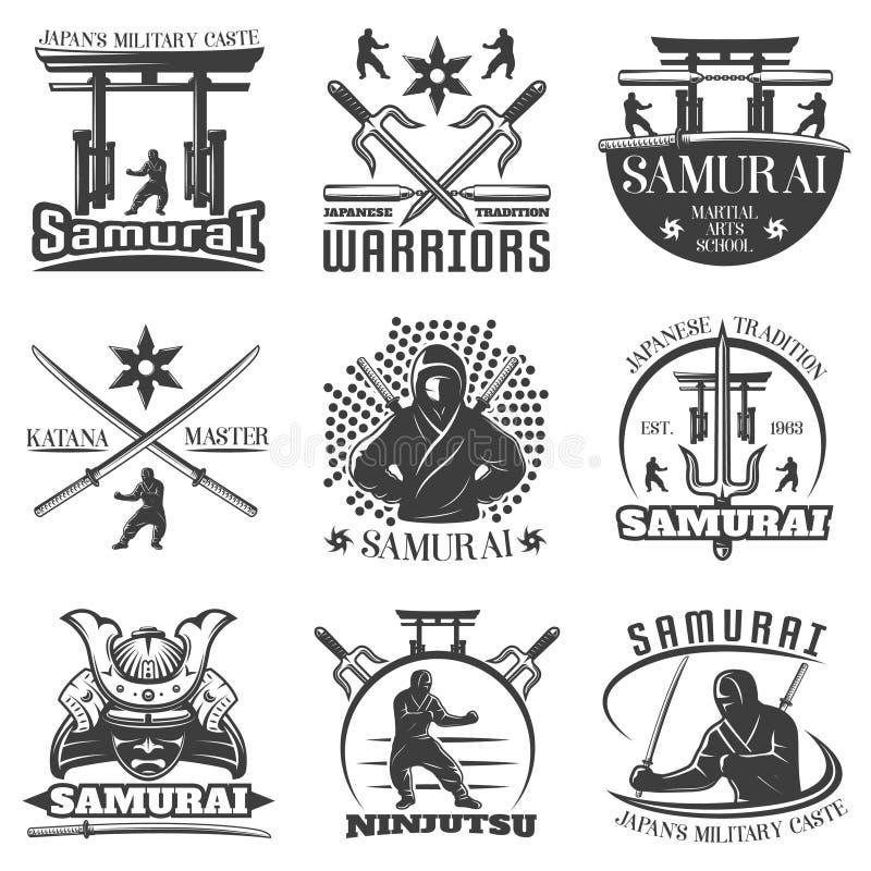Emblemas monocromáticos do samurai ajustados ilustração royalty free