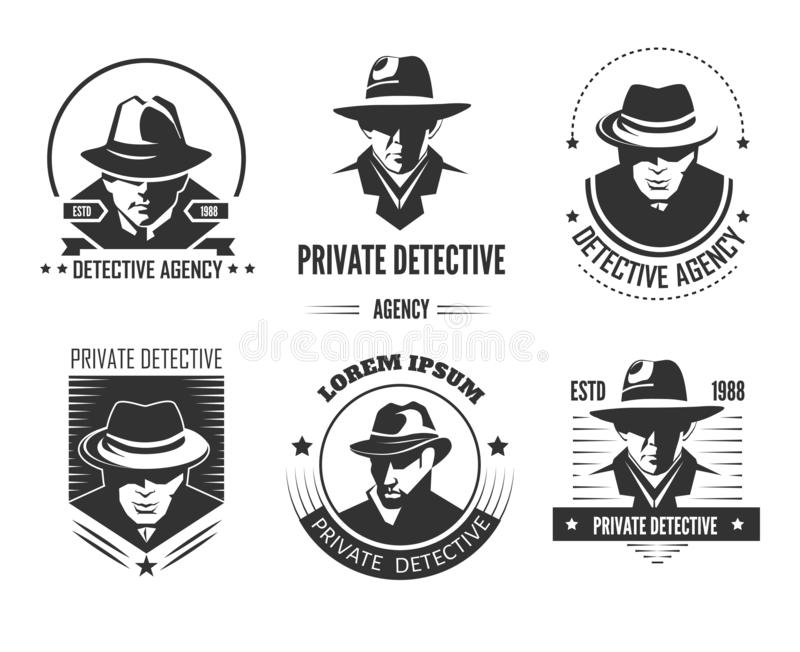 Emblemas monocromáticos promocionales del detective privado con el hombre en sombrero y capa clásica libre illustration