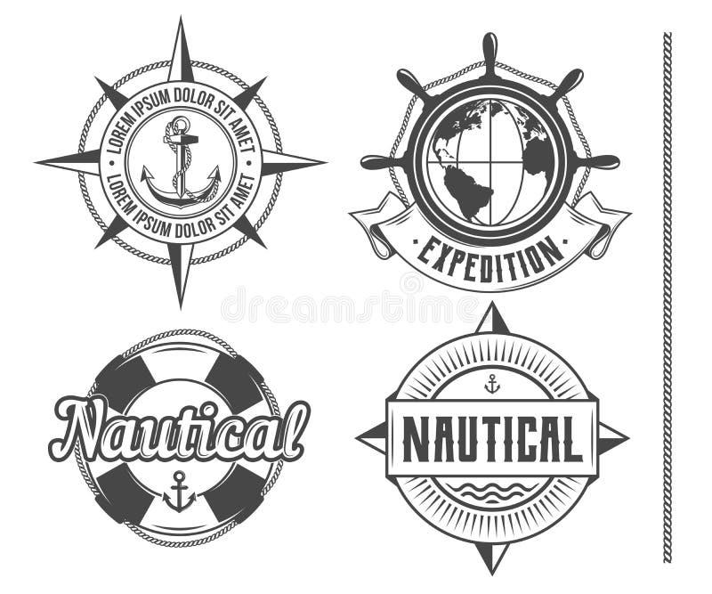 Emblemas náuticos do vintage ilustração stock