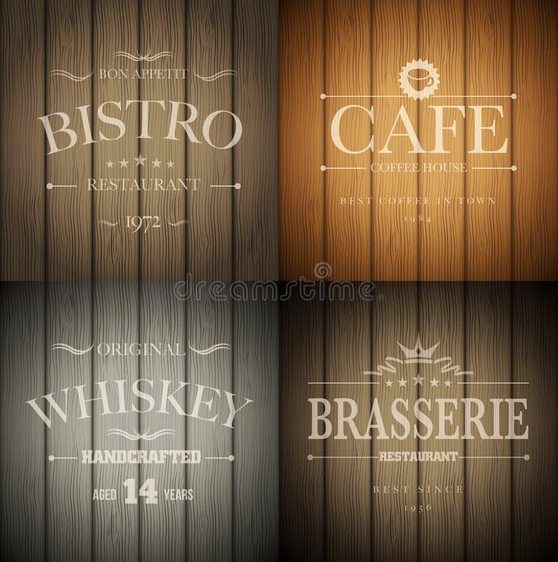 Emblemas na textura de madeira ilustração do vetor