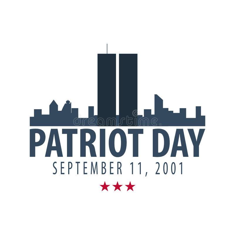 Emblemas o logotipo del día del patriota 11 de septiembre Nunca olvidaremos ilustración del vector