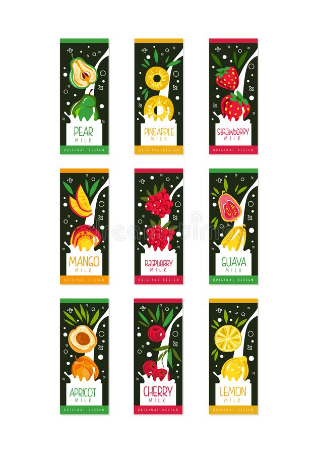 Emblemas para la leche de la fruta 9 diversos gustos pera, piña, fresa, mango, frambuesa, guayaba, albaricoque, cereza, limón stock de ilustración