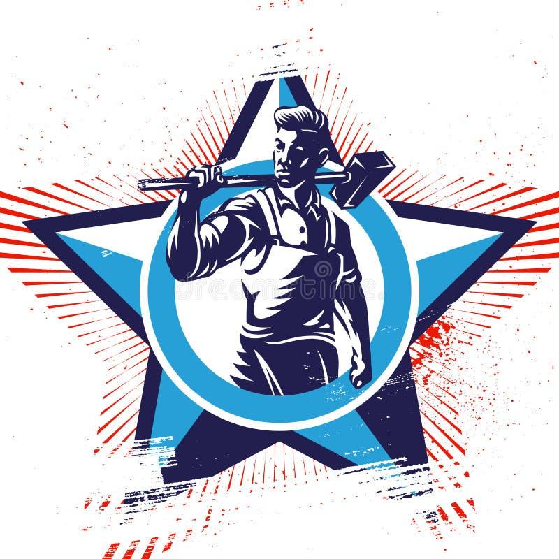 Emblemas patrióticos del trabajador americano libre illustration
