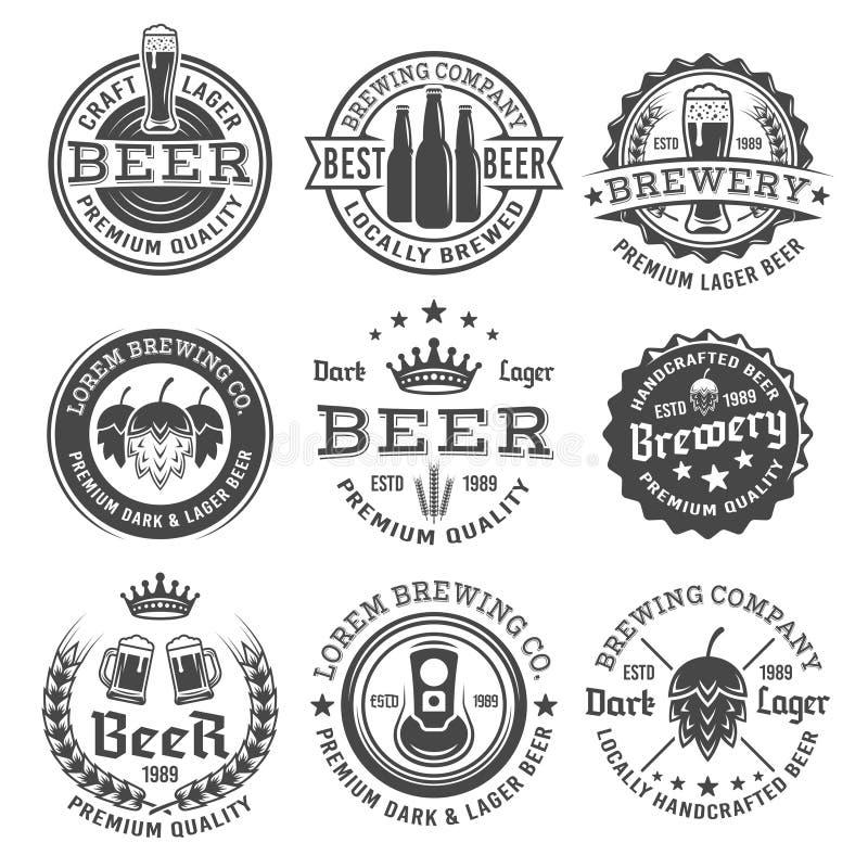 Emblemas preto e branco do vetor da cerveja e da cervejaria ilustração royalty free