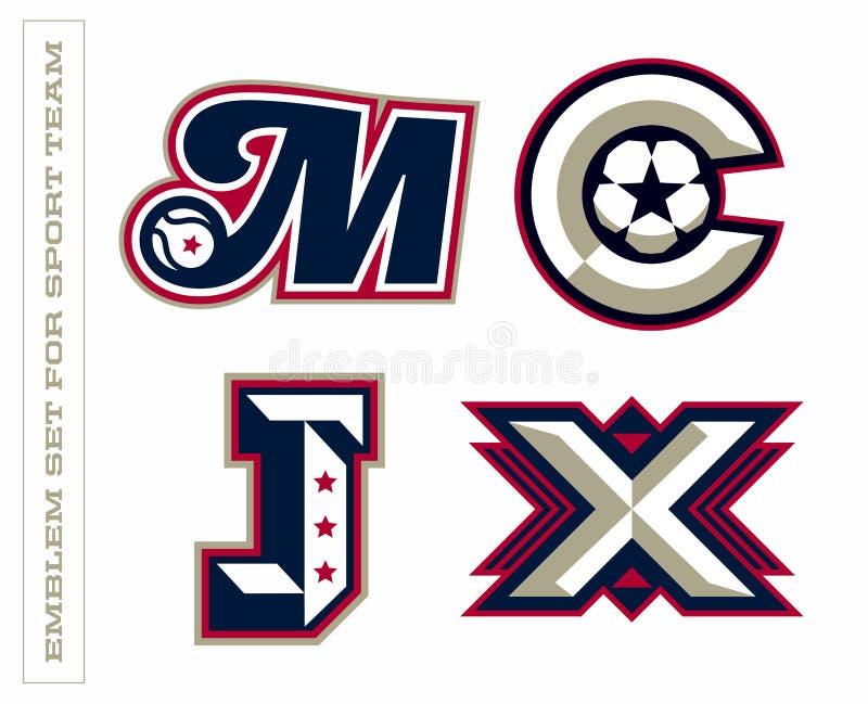 Emblemas profesionales modernos de la letra para los equipos de deporte E ilustración del vector