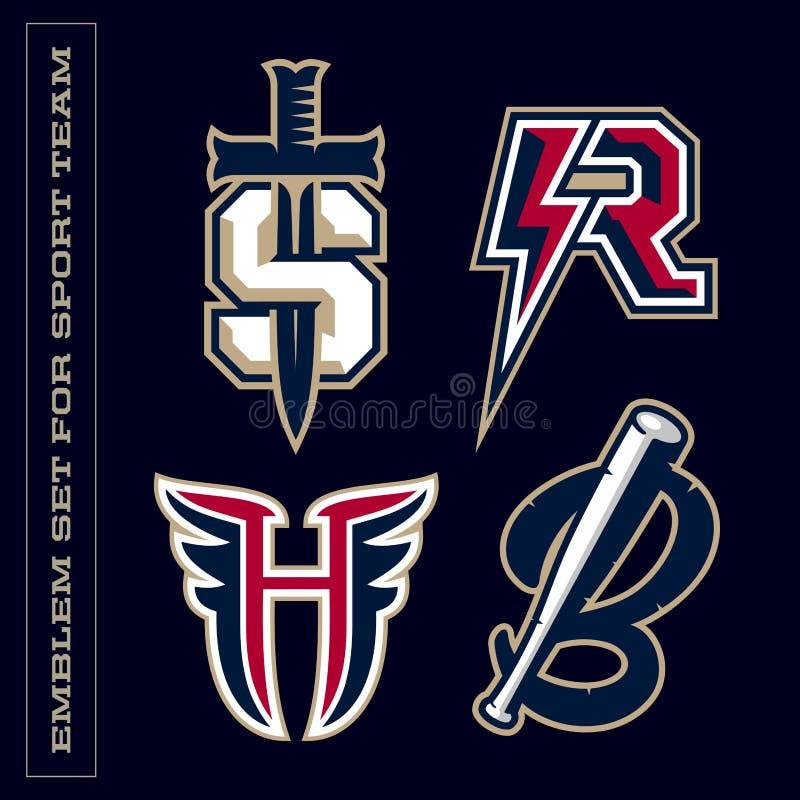 Emblemas profesionales modernos de la letra para los equipos de deporte Letra de S R H B ilustración del vector