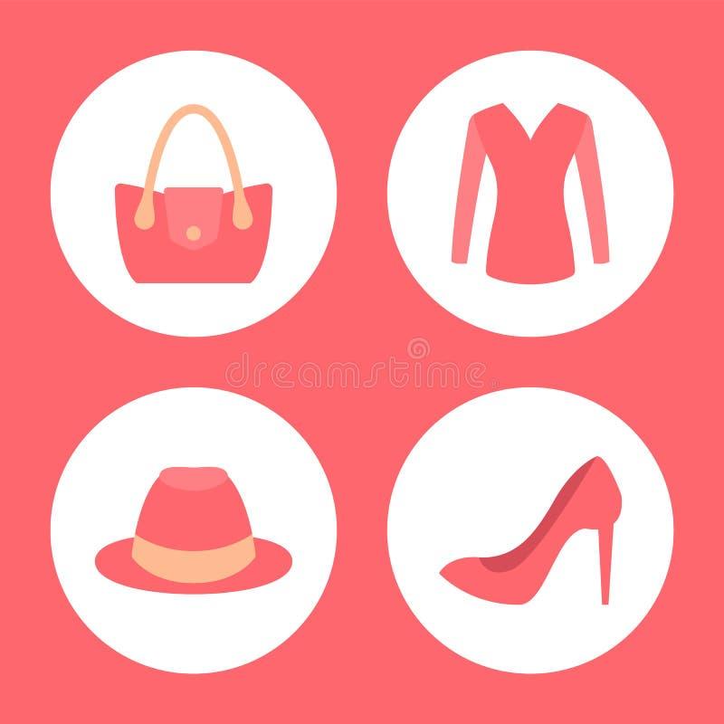 Emblemas promocionales de la ropa elegante de la hembra fijados ilustración del vector