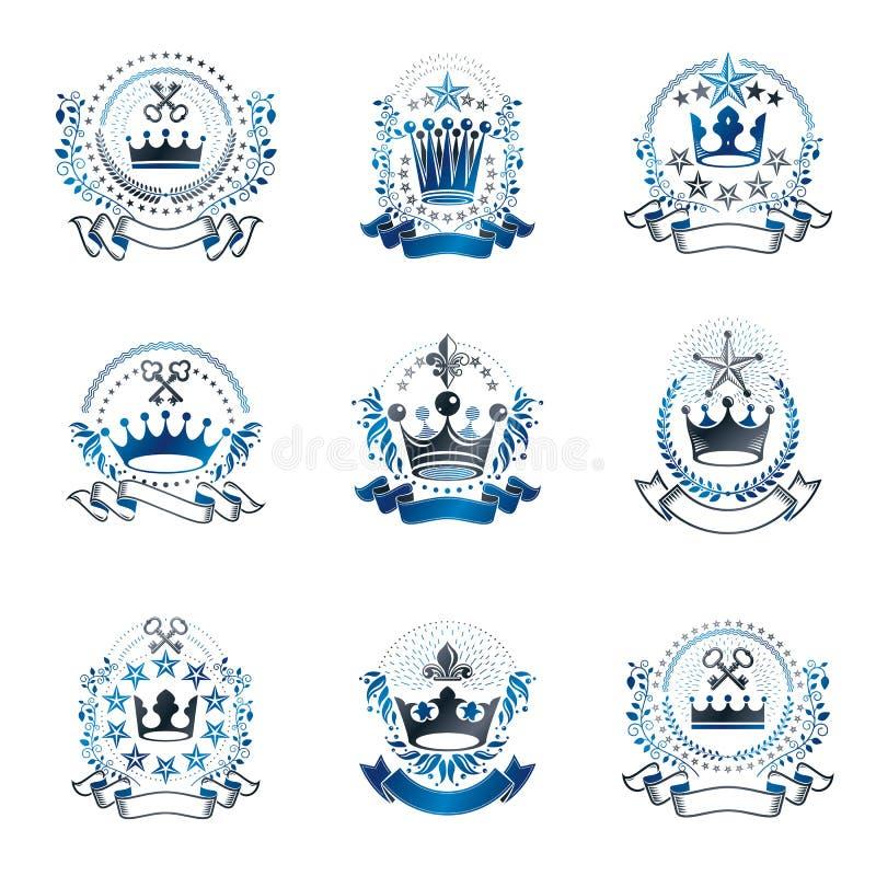 Emblemas reales de las coronas fijados Collec heráldico de los elementos del diseño del vector stock de ilustración