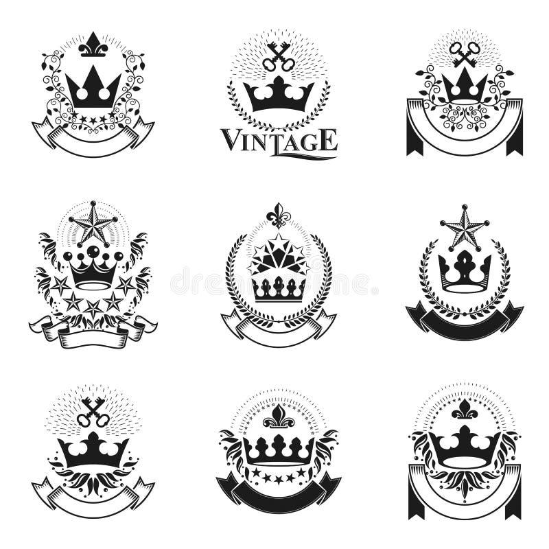 Emblemas reales de las coronas fijados Logotipos decorativos del escudo de armas heráldico libre illustration