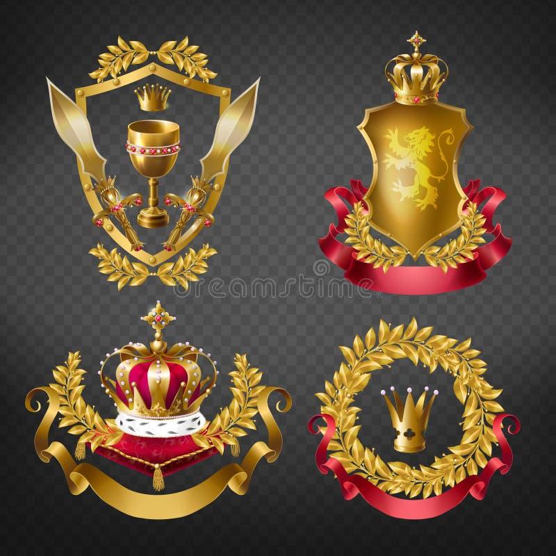 Emblemas reales heráldicos con las coronas de oro del monarca stock de ilustración