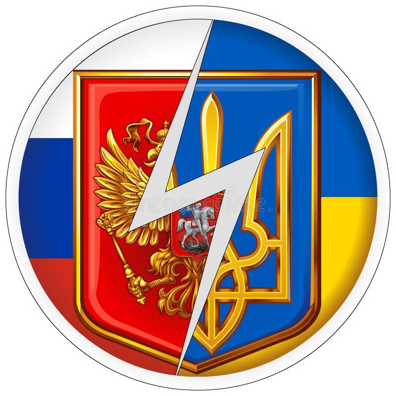 Emblemas redondos da etiqueta de Rússia e de Ucrânia no fundo de bandeiras nacionais fotografia de stock royalty free