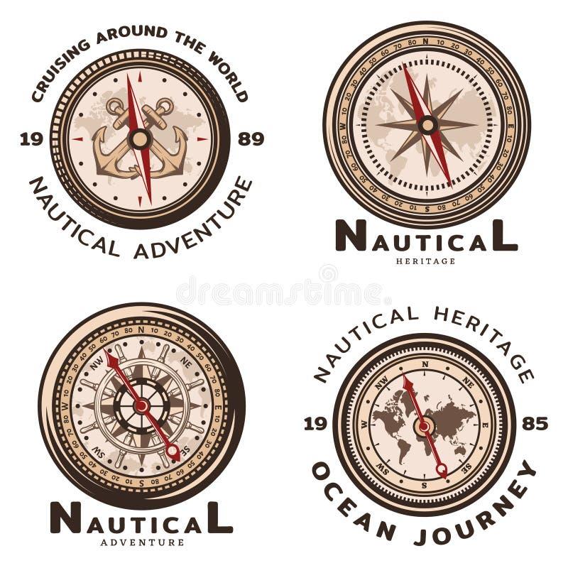Emblemas redondos náuticos coloreados vintage fijados stock de ilustración