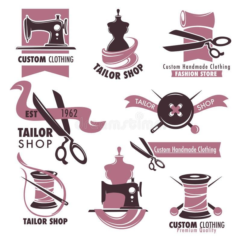 Emblemas relativos à promoção da loja do alfaiate e da loja da forma ajustados ilustração royalty free