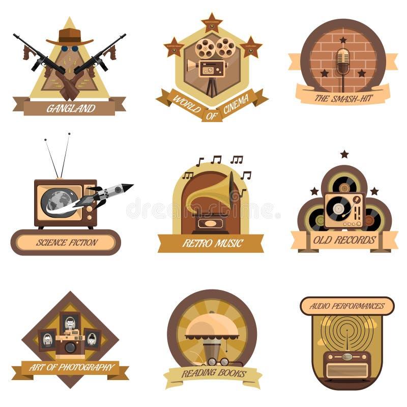 Emblemas retros ajustados ilustração royalty free