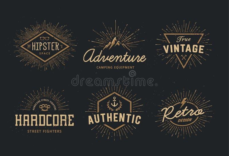 Emblemas retros ajustados ilustração stock