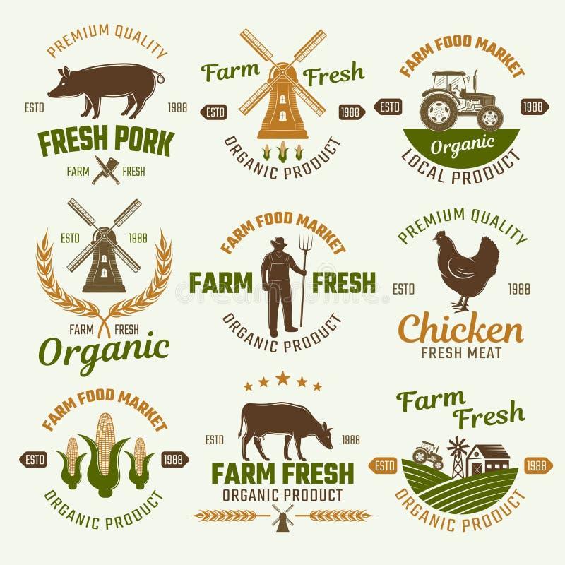 Emblemas retros del estilo de los productos agrícolas stock de ilustración