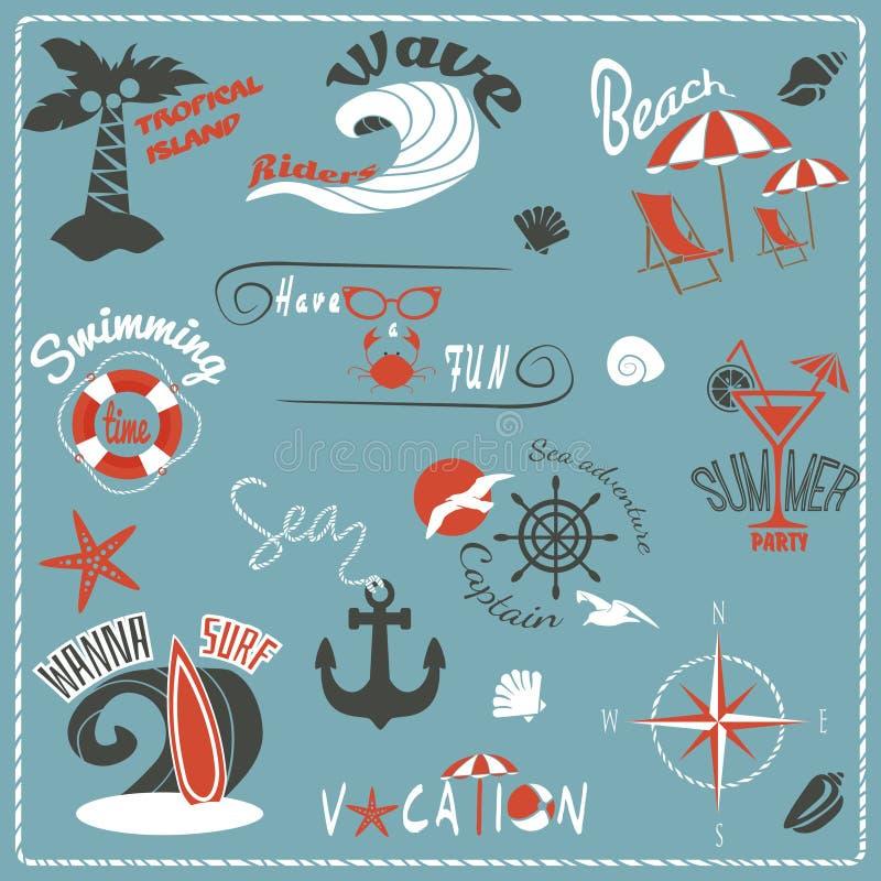 Emblemas retros del verano stock de ilustración