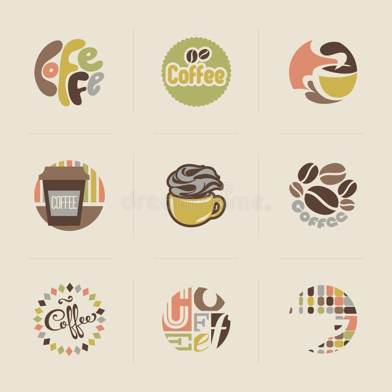 Emblemas retros do café. Grupo de vetores ilustração do vetor