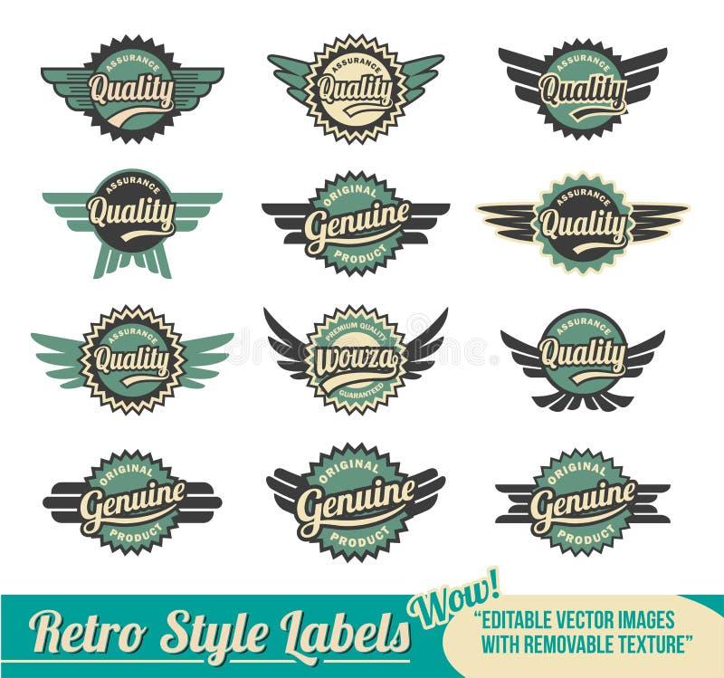 Emblemas retros e etiquetas ilustração stock