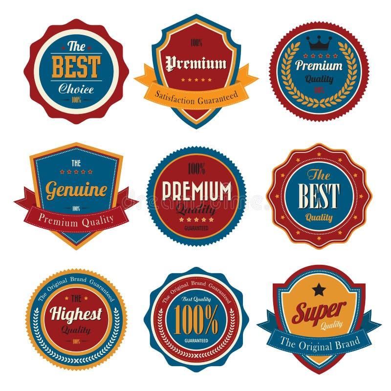 Emblemas retros e etiquetas do vintage. ilustração royalty free